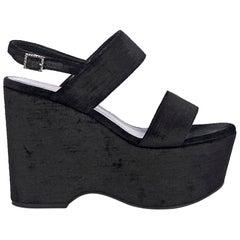 Black Saint Laurent Velvet Wedge Sandals
