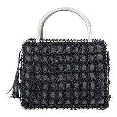 Black Salvatore Ferragamo Leather & Fabric Evening Bag