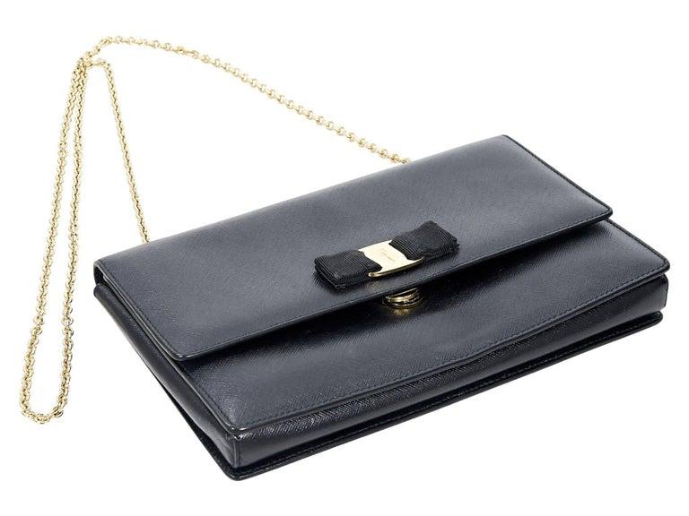 Salvatore Ferragamo Black Saffiano Leather Miss Vara Bag In Good Condition For Sale In New York, NY