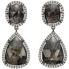 Black Sapphire and Diamond Drop Earrings