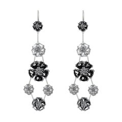 Black Sapphire and White Sapphire Blossom Double-Tier Chandelier Earrings