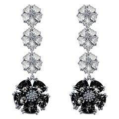 Black Sapphire and White Sapphire Blossom Renaissance Drop Earrings