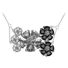 Black Sapphire and White Sapphire Blossom Renaissance Necklace