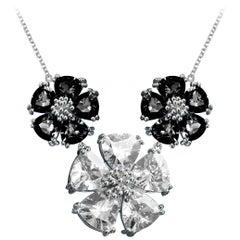 Black Sapphire and White Sapphire Blossom Triple Renaissance Necklace
