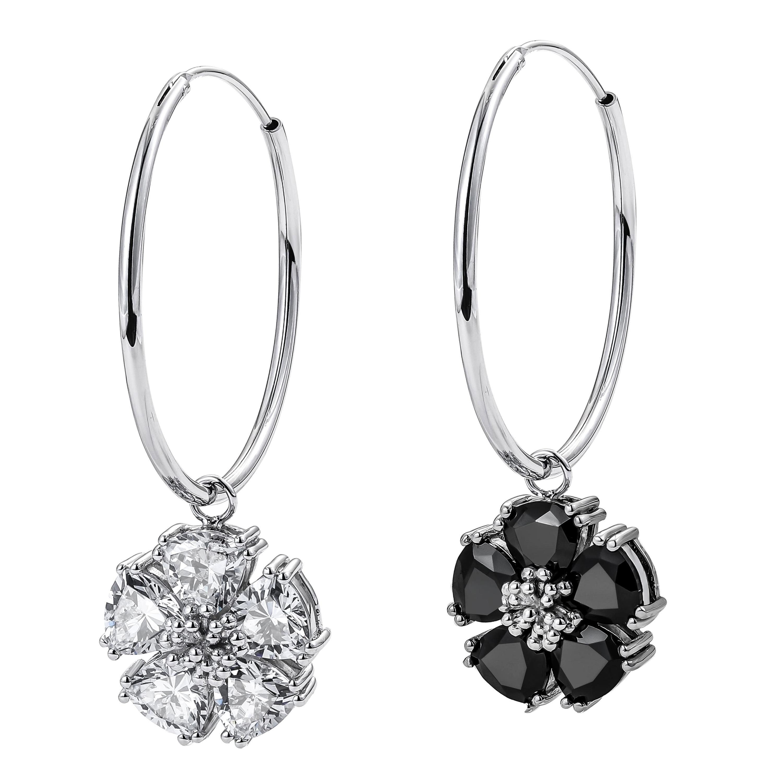 Black Spinel and White Topaz Medium Mismatched Blossom Gemstone Hoops