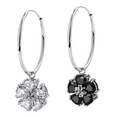Black Sapphire and White Sapphire Medium Mismatched Blossom Gemstone Hoops