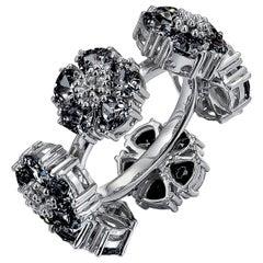 Black Sapphire Blossom Gemstone Wraparound Ring