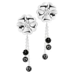 Black Sapphire Blossom Graduated Stone Drop Earrings