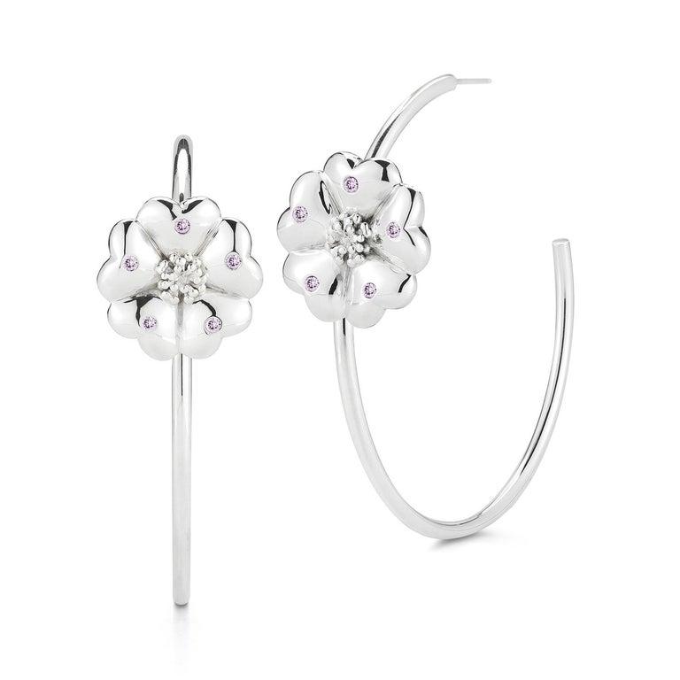 Modern Black Sapphire Blossom Pave Open Hoop Earrings For Sale