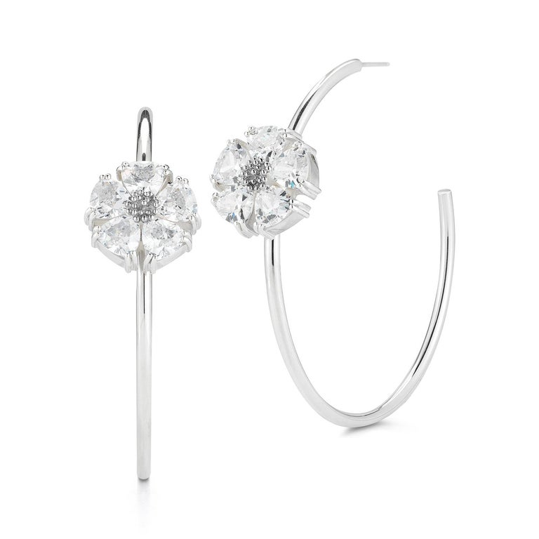 Designed in NYC  .925 Sterling Silver 2 x 20 mm Black Sapphire Double Blossom Stone Earrings. Double the beauty with double blossom with stone 3D earrings for show-stopping day or night looks. Double blossom stone earrings:       Sterling silver