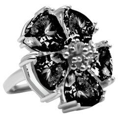 Black Sapphire Blossom Stone Ring
