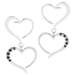 Black Sapphire Double Heart Pave Dangle Earrings