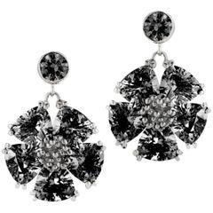 Black Sapphire Single Blossom Drop Earrings