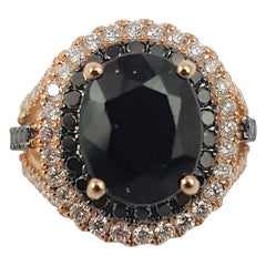 Black Sapphire with Black Diamond and Diamond Rings Set in 18 Karat Rose Gold