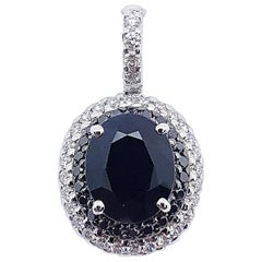 Black Sapphire with Diamond and Black Diamond Pendant Set in 18 Karat White Gold