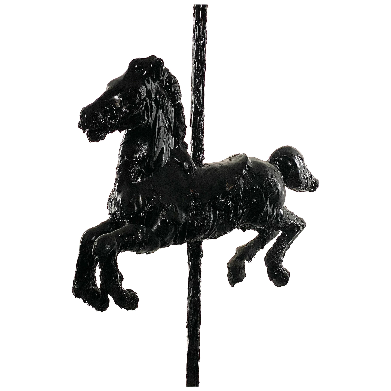 Black Sculptural Tar Carousel Horse, 21st Century by Mattia Biagi
