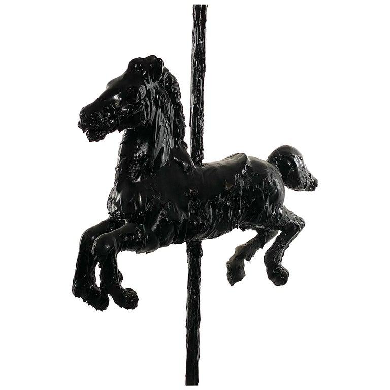 Black Sculptural Tar Carousel Horse, 21st Century by Mattia Biagi For Sale