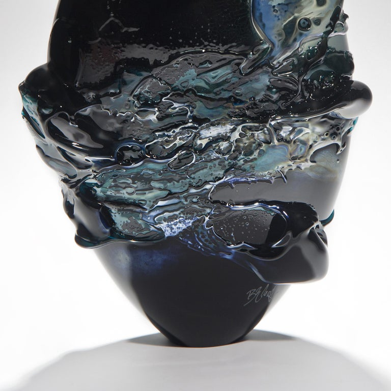 British Black Sea, a Unique Black, Blue and Metallic Sheen Glass Vase by Bethany Wood For Sale