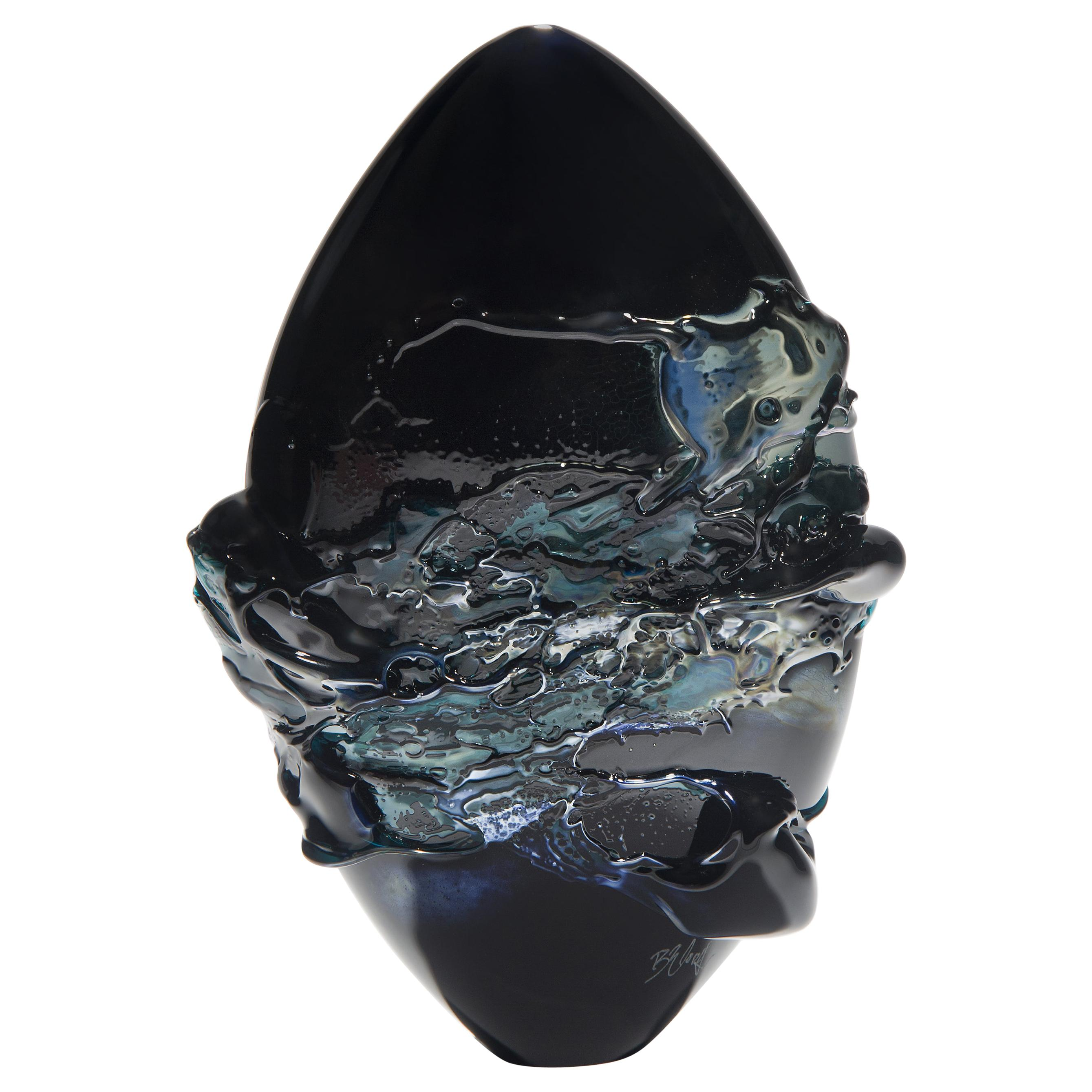 Black Sea, a Unique Black, Blue and Metallic Sheen Glass Vase by Bethany Wood