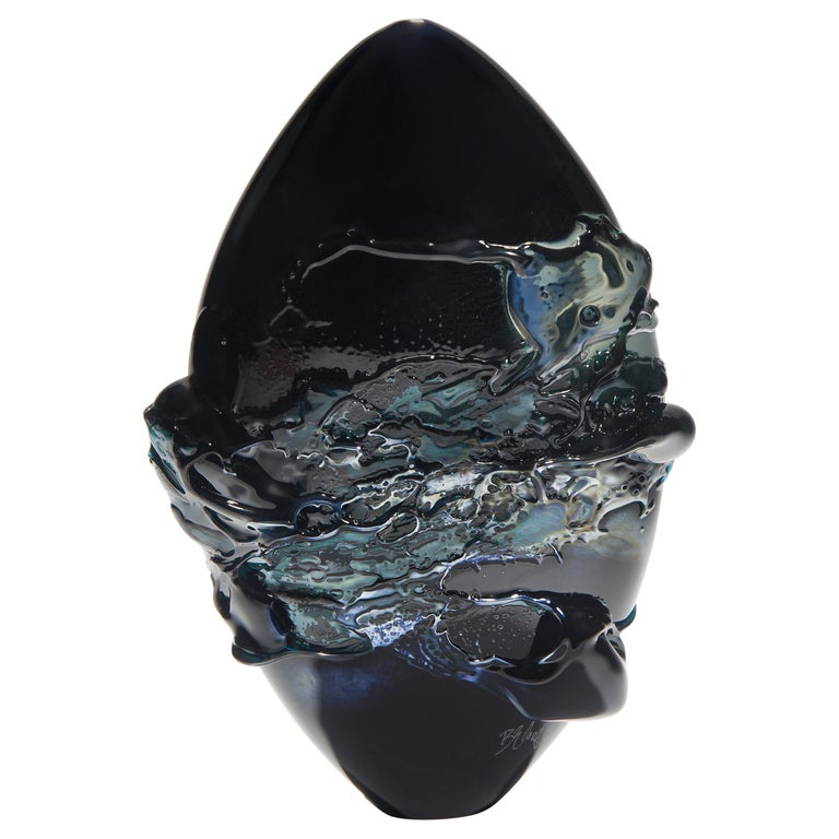 Black Sea, a Unique Black, Blue and Metallic Sheen Glass Vase by Bethany Wood For Sale