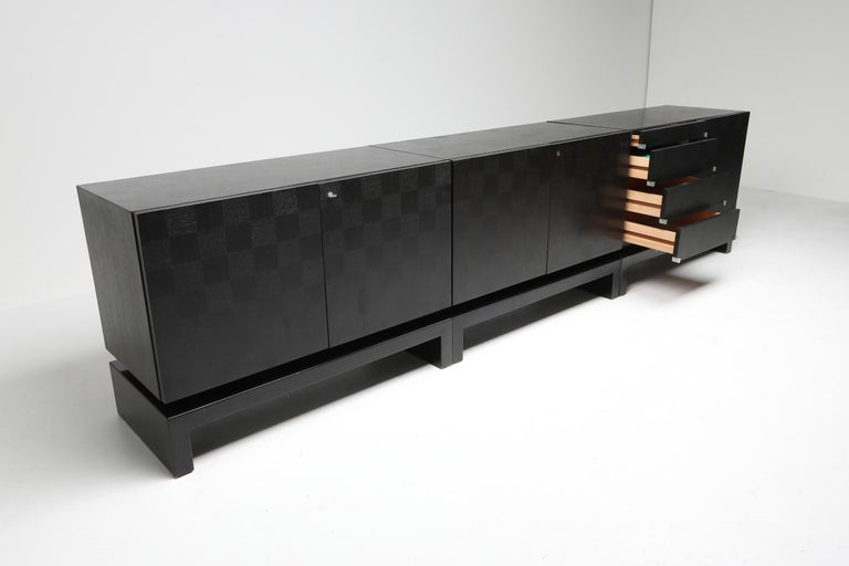 Black Sectional Credenza by De Coene, Belgium, 1970s In Good Condition For Sale In Antwerp, BE