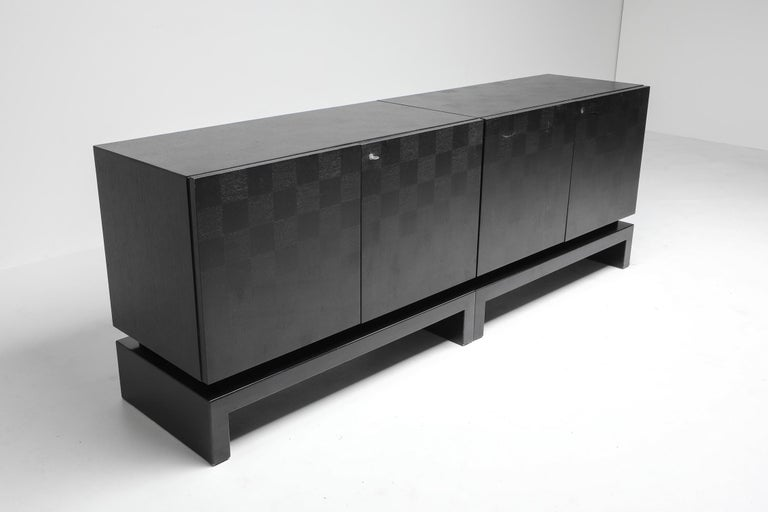 Black Sectional Credenza by De Coene, Belgium, 1970s For Sale 1