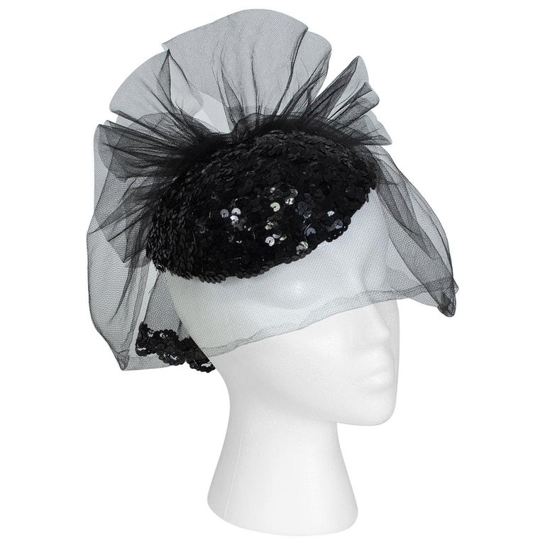 Black Sequin Cocktail Hat with Cage Veil, 1950s For Sale