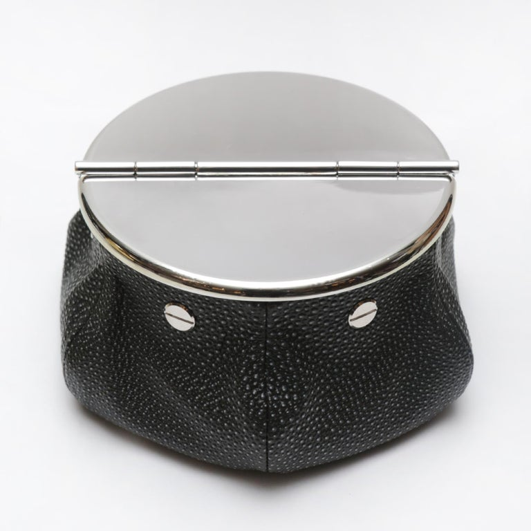 Hand-Crafted Black Shagreen 2 Cigars Yachting Ashtray For Sale
