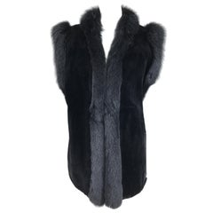 Black Sheared Beaver with Fox Gilet or Vest Vintage 1970s
