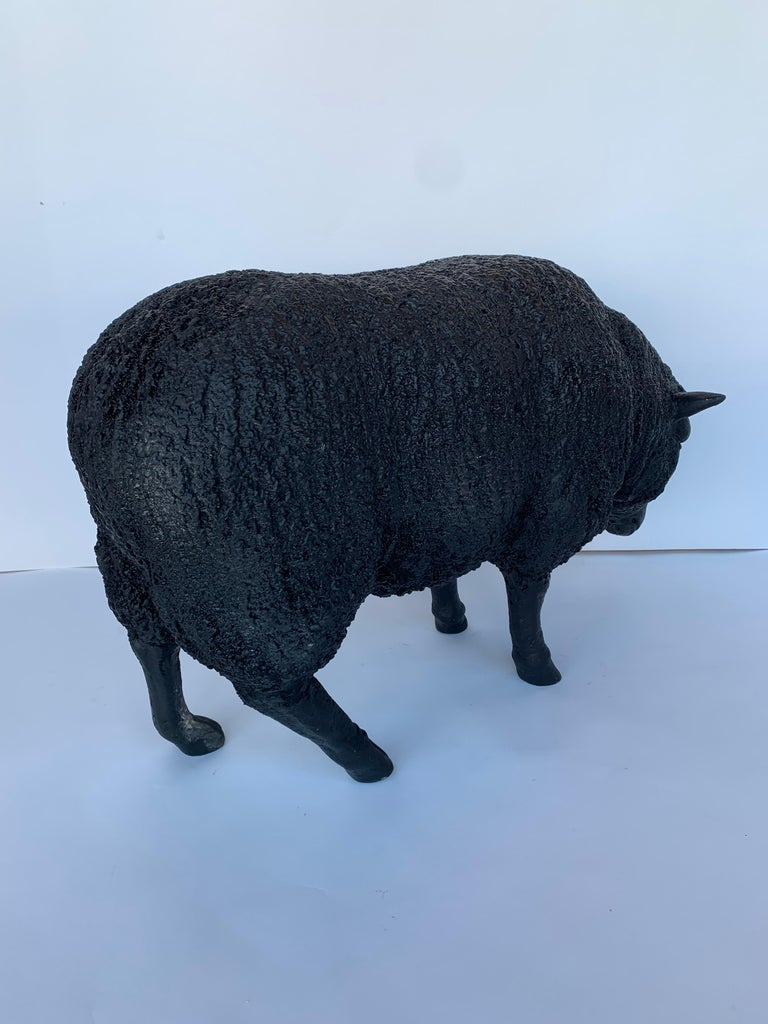 Fiberglass Black Sheep Sculpture For Sale