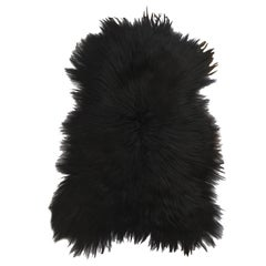 Black Sheepskin Fur Throw Rug, Iceland