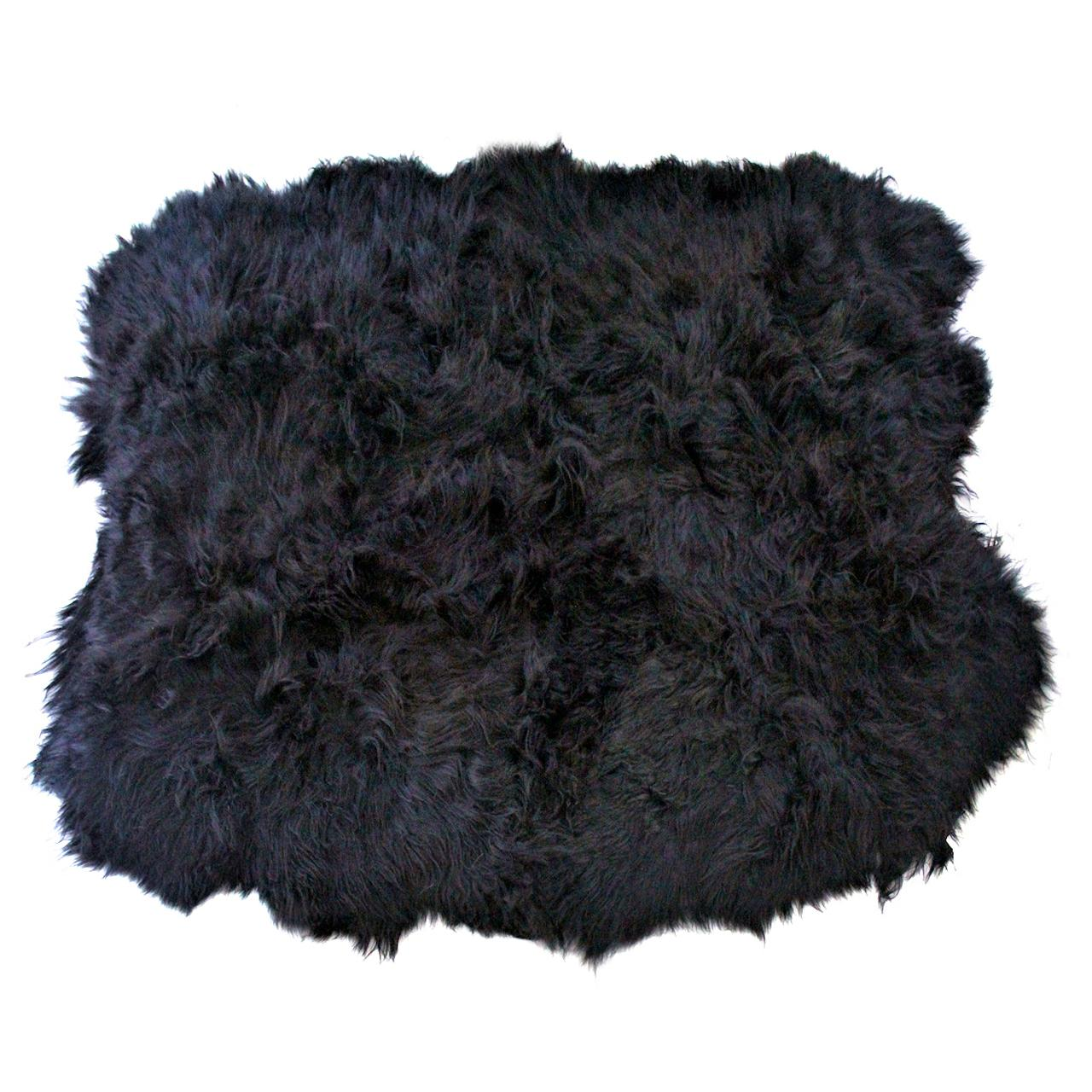 Black Sheepskin Rug, Black Icelandic Shaggy Long Wool