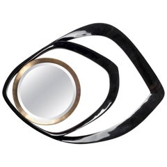 Black Shell Mirror with Bronze-Patina Brass Details by R&Y Augousti