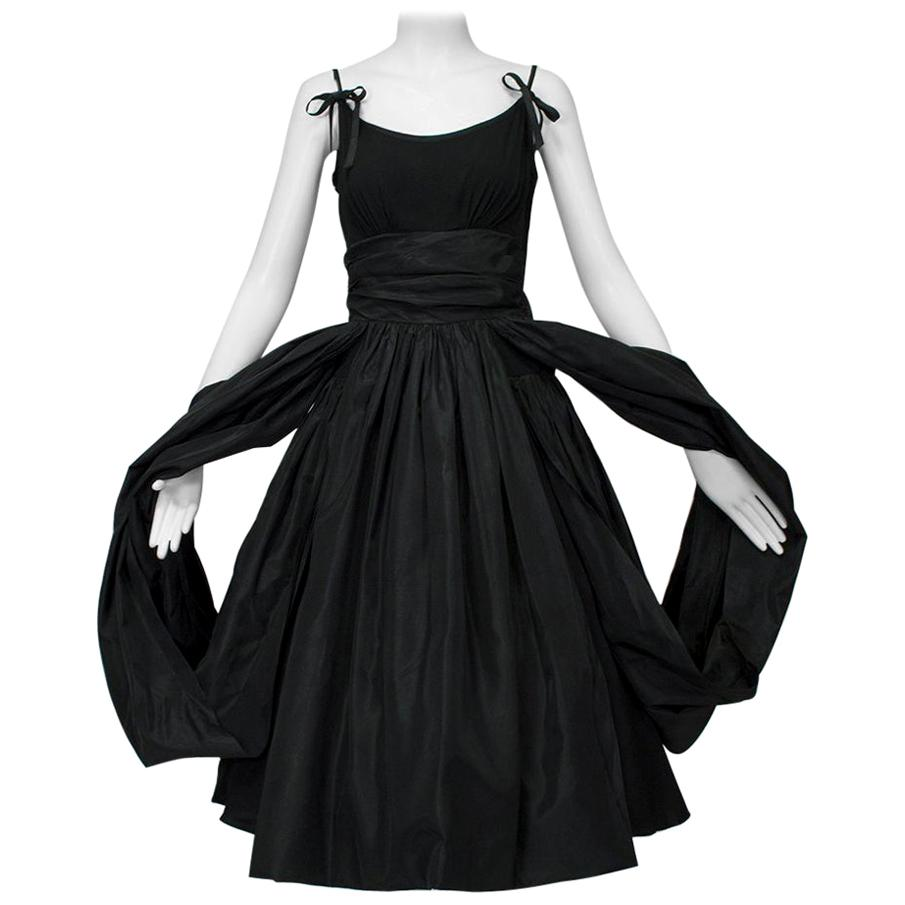 Black Shoulder Bow Sabrina Dress with Looping Car Wash Skirt - XS, 1950s