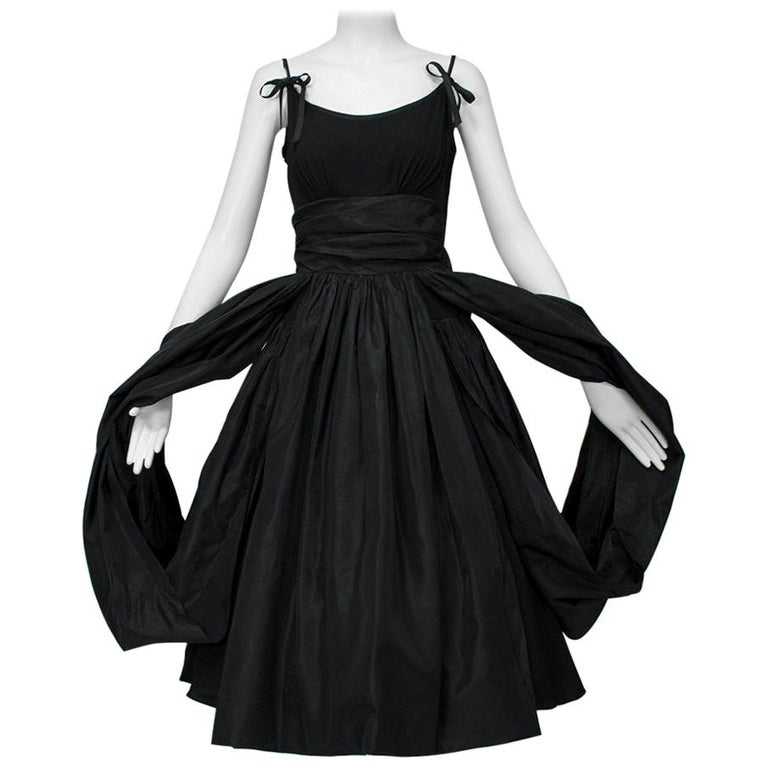 Black Shoulder Bow Sabrina Dress with Looping Car Wash Skirt - XS, 1950s For Sale