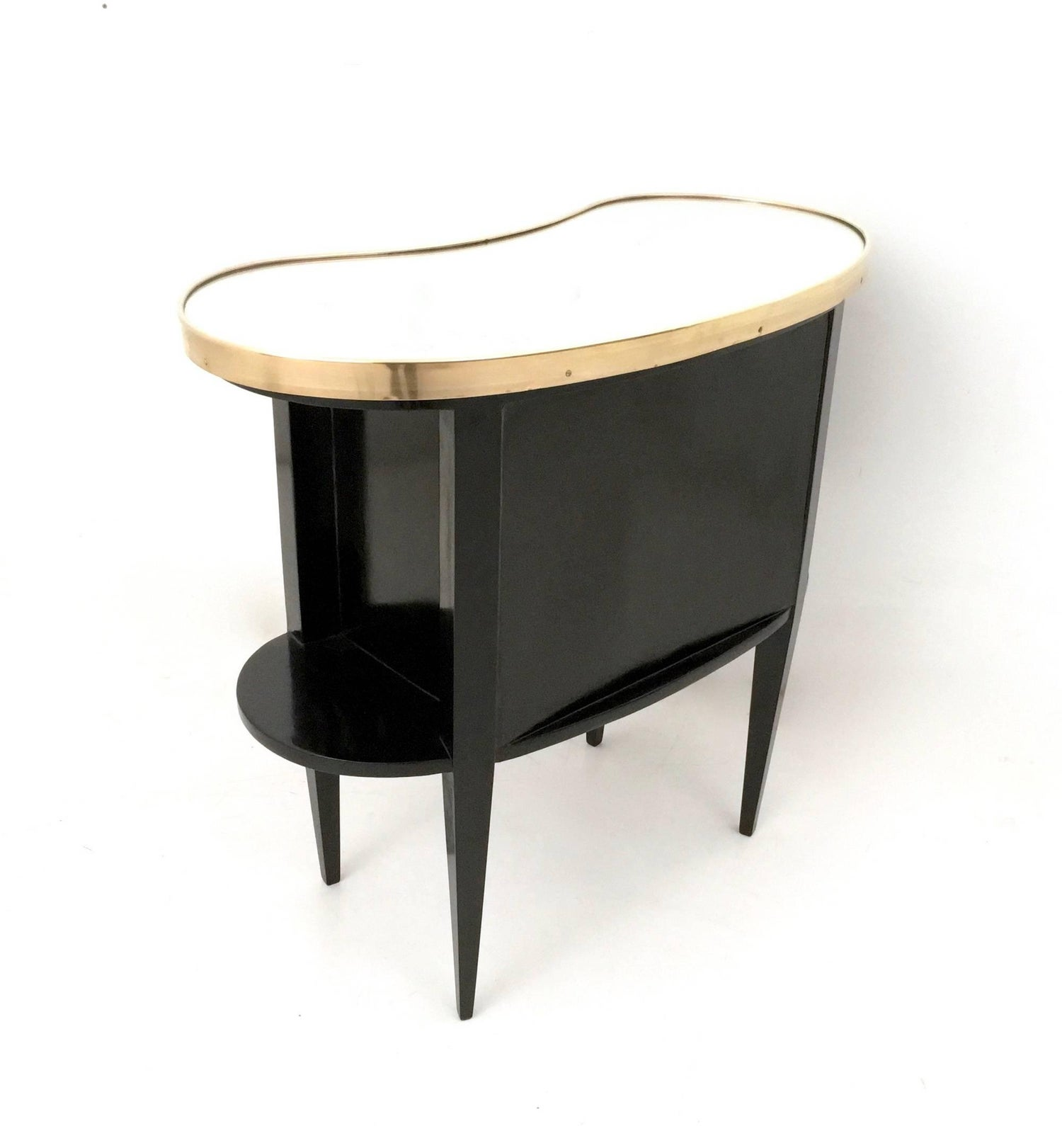 Black Side Table Vanity With Drawers And A Mirrored Top Italy 1950 At 1stdibs