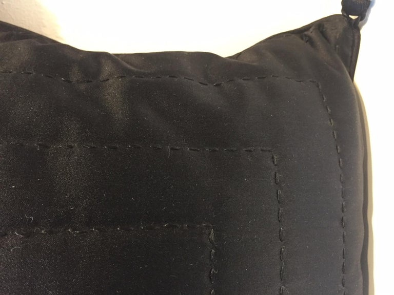 Black Silk Cushion Hand Quilted with Silver Beaded Tassels For Sale 1
