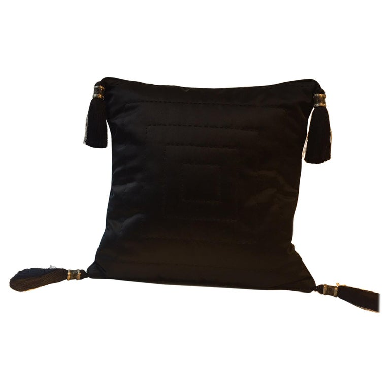 Black Silk Cushion Hand Quilted with Silver Beaded Tassels For Sale