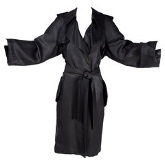 Black Silk Lanvin Trench Coat Alber Elbaz Runway Spring Summer 2006