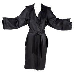 Black Silk Lanvin Trench Coat Alber Elbaz Runway Spring Summer 2006