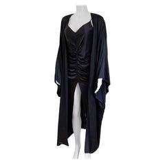 Black silk satin charmeuse Furisode-sleeve Kimono with sash by FLORA KUNG