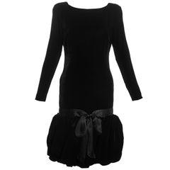 Black silk velvet drop waist cocktail dress with puffball skirt, c. 1960