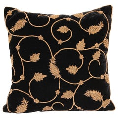 Black Silk Velvet Throw Pillow Embroidered with Gold Design