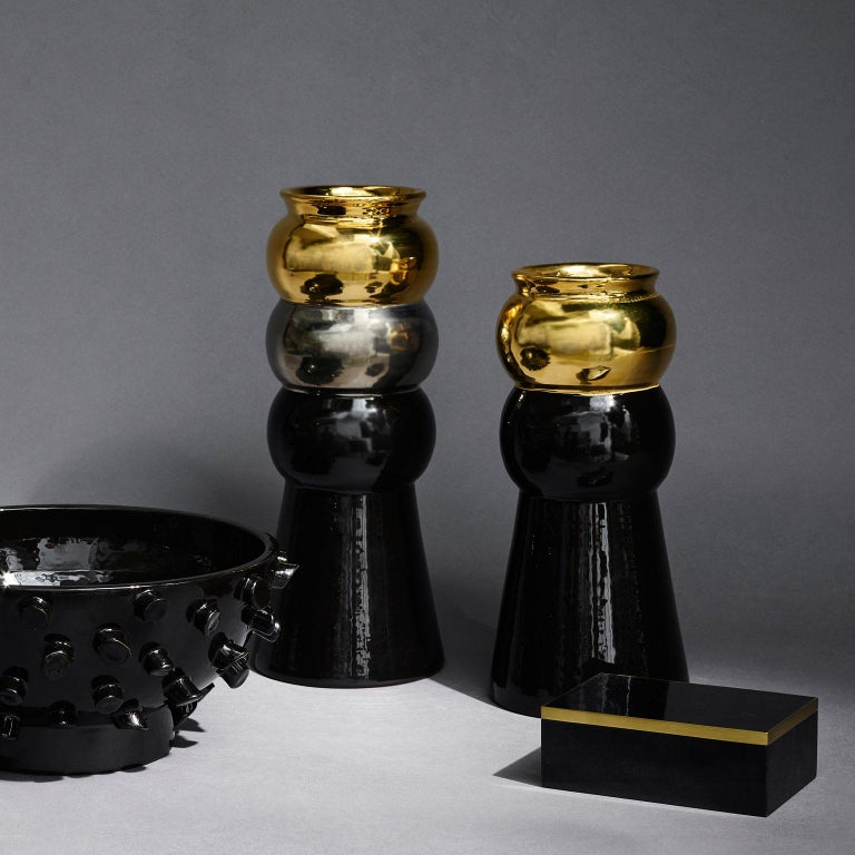 Modern Black, Silver and Gold Maiolica Ceramic Halston Vase by Greg Natale For Sale