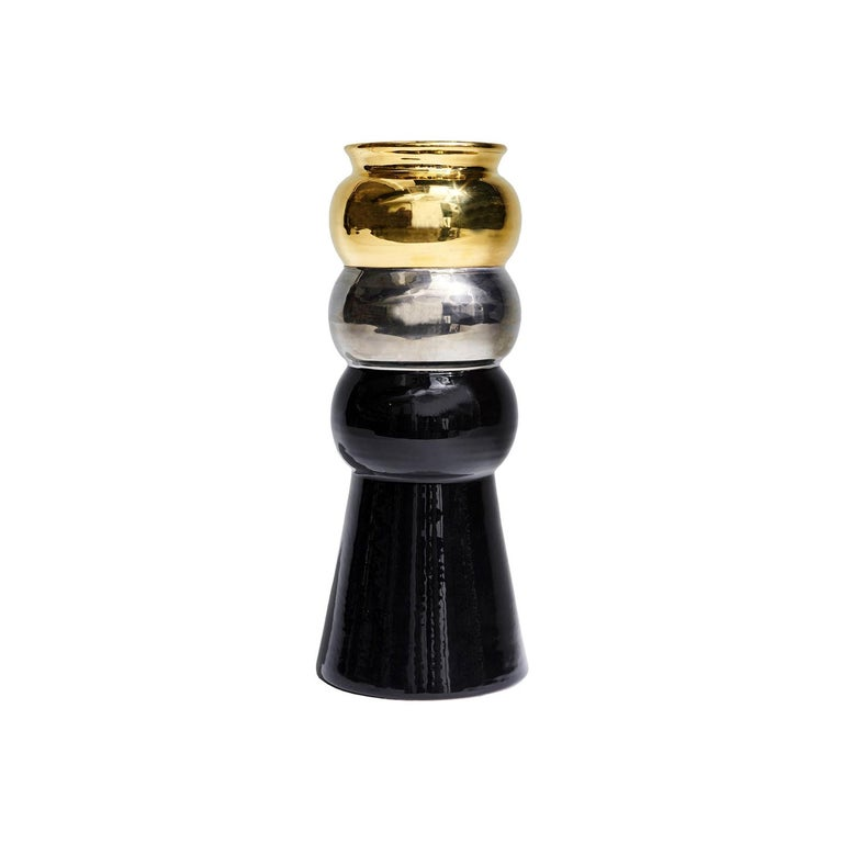 Black, Silver and Gold Maiolica Ceramic Halston Vase by Greg Natale For Sale