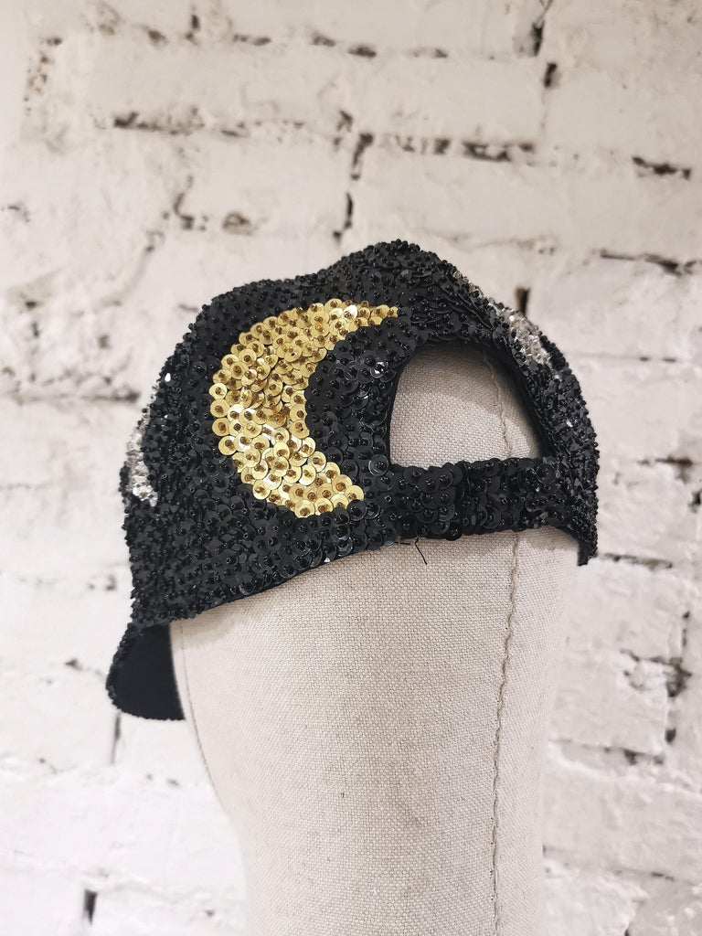 Women's or Men's Black silver stars gold moons sequins hat For Sale