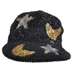 Black silver stars gold moons sequins hat