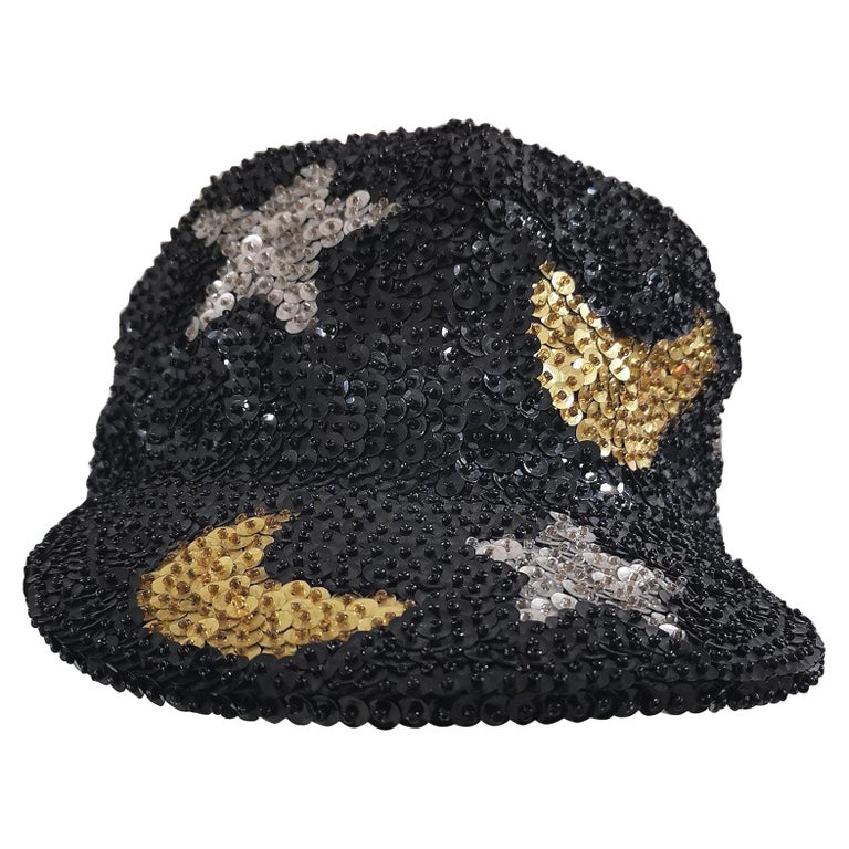 Black silver stars gold moons sequins hat For Sale