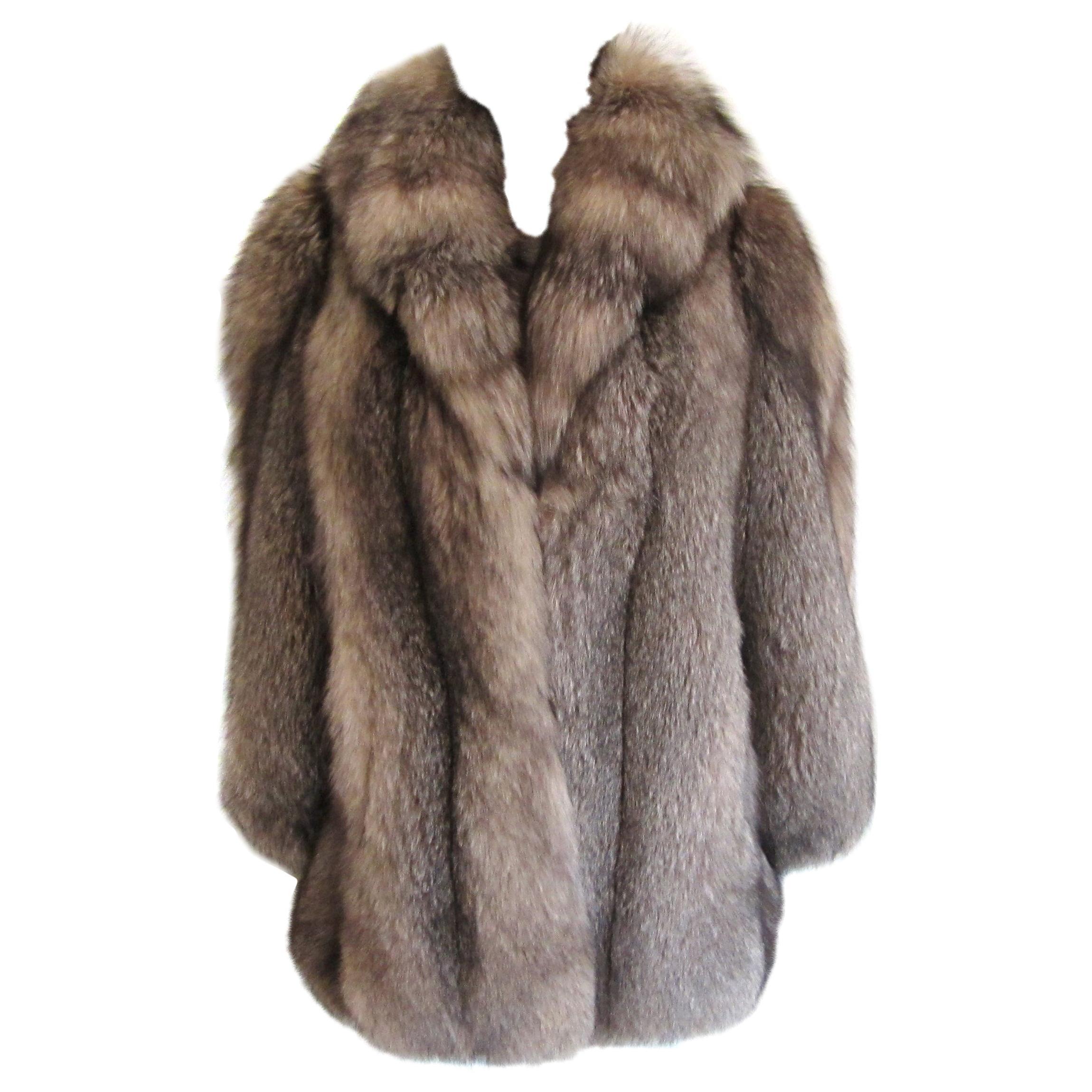 Black & Silver Tipped Fox Fur Coat Stunning