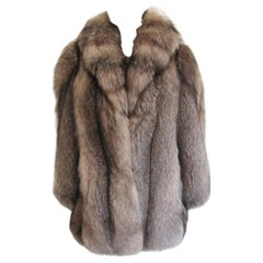 Black & Silver Tipped Fox Fur Coat Stunning